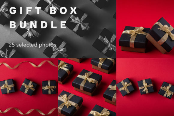 Download Free Gift Box Bundle 25 Photos Graphic By Frostroomhead Creative for Cricut Explore, Silhouette and other cutting machines.