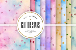 Print on Demand: Glitter Stars - Watercolor Textures Graphic Backgrounds By Sabina Leja