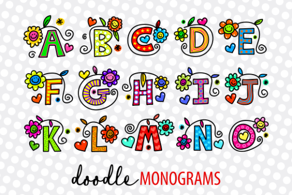Print on Demand: Hand Drawn Doodle Monogram Alphabet Set Grafik Illustrationen von Prawny