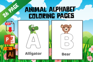 Print on Demand: KDP Zoo Animal Alphabet Coloring Pages Graphic KDP Interiors By MK DESIGNS