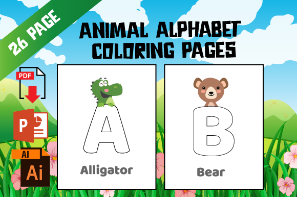 Print on Demand: KDP Zoo Animal Alphabet Coloring Pages Gráfico Páginas KDP Por MK DESIGNS