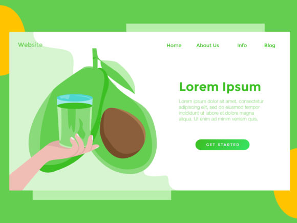 Landing Page Food Avocado Green Graphic Landing Page Templates By archshape
