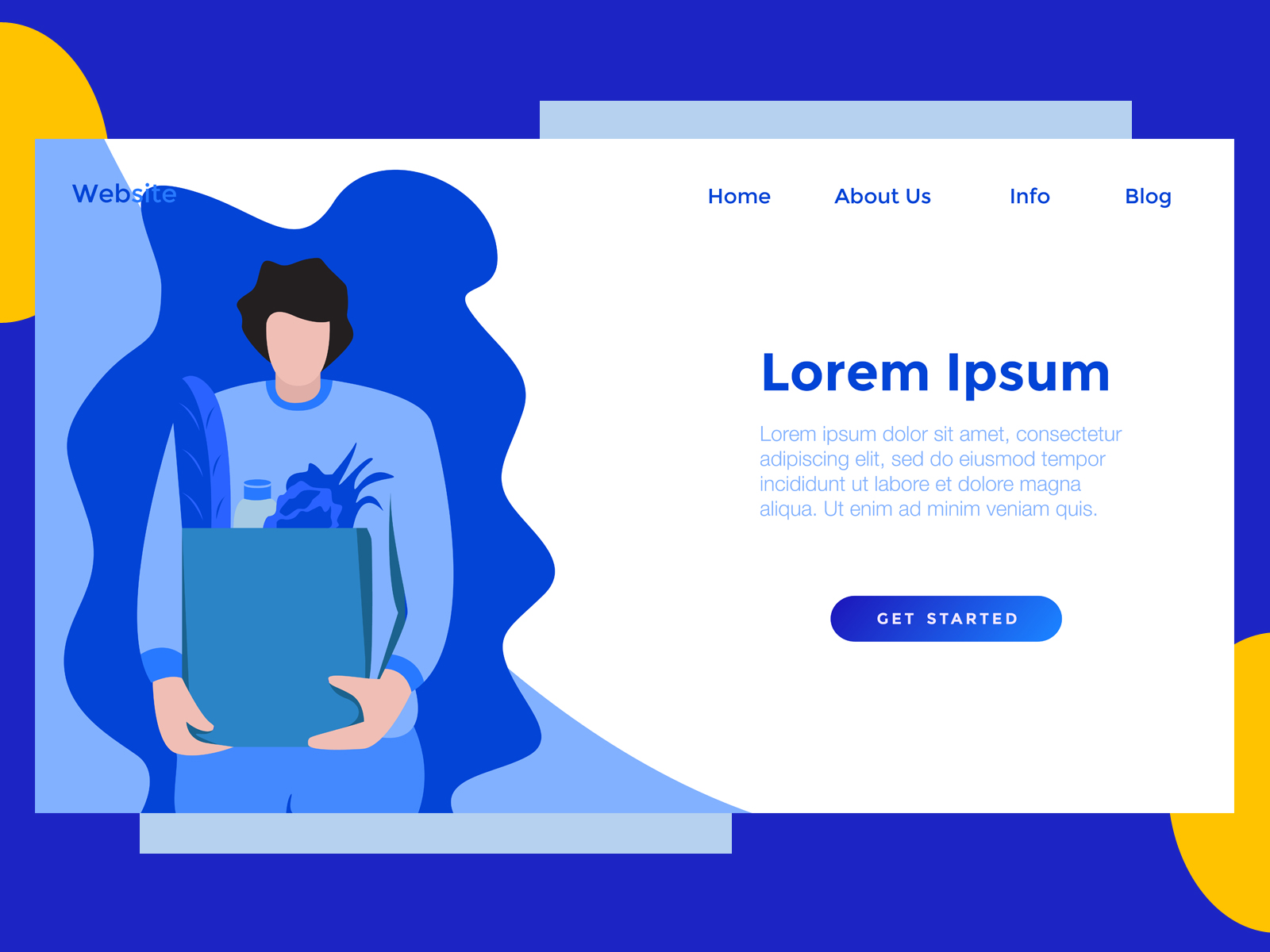Download Free Landing Page Food Bag Blue Graphic By Archshape Creative Fabrica for Cricut Explore, Silhouette and other cutting machines.