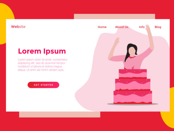 Print on Demand: Landing Page Food Red Cake Graphic Landing Page Templates By archshape