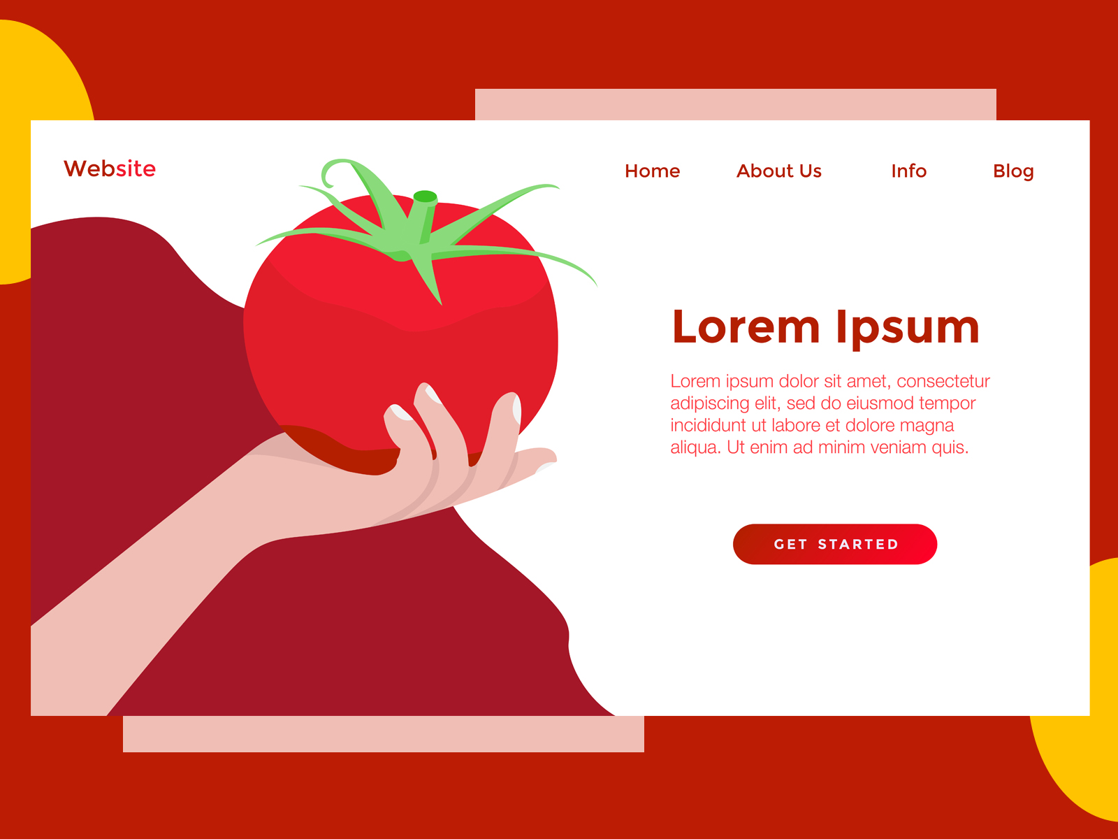 Download Free Landing Page Food Red Tomato Graphic By Archshape Creative Fabrica for Cricut Explore, Silhouette and other cutting machines.