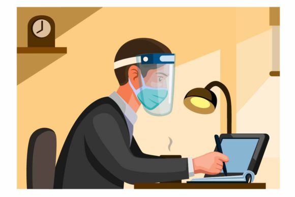 Print on Demand: Man Office Worker Wear Mask Face Shield Graphic Illustrations By aryo.hadi