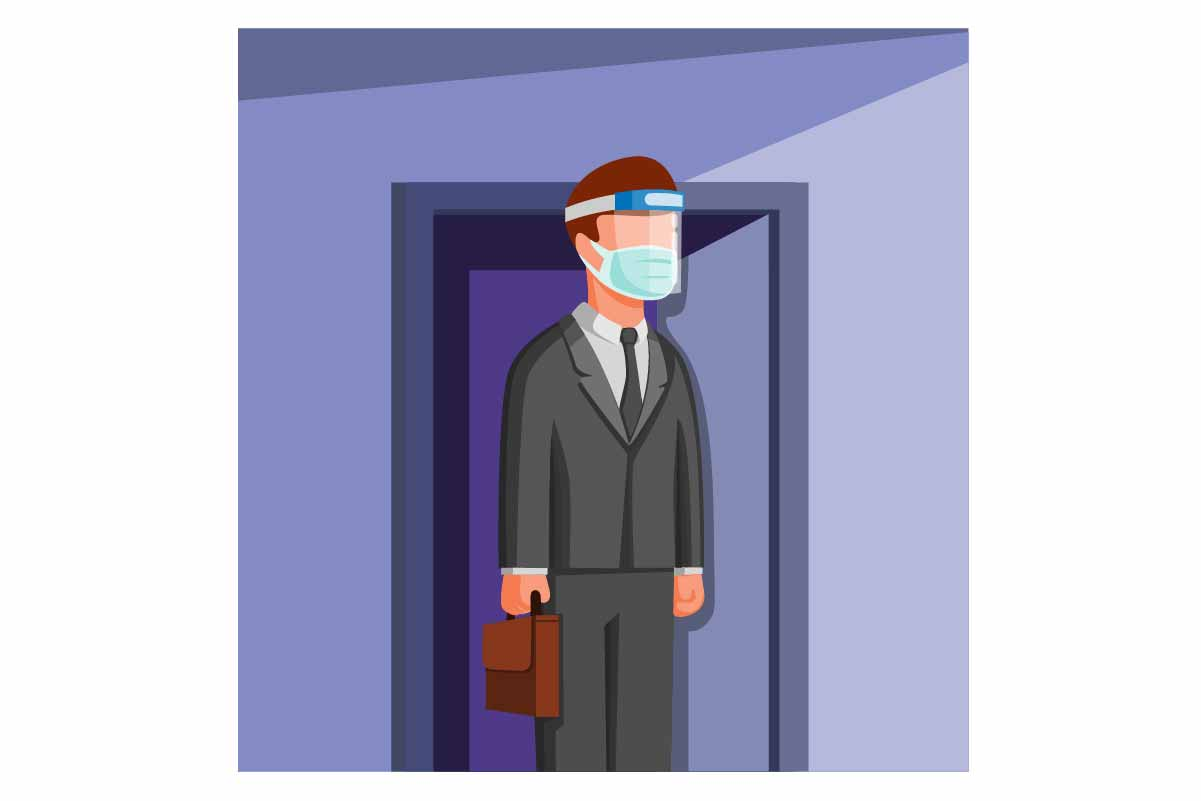 Download Free Man Go To Work Wear Face Shield And Mask Graphic By Aryo Hadi for Cricut Explore, Silhouette and other cutting machines.