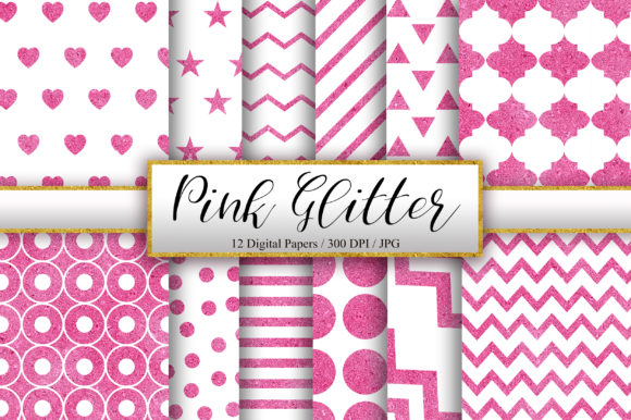 Pink and White Glitter Background Graphic Patterns By PinkPearly