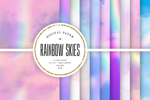 Print on Demand: Rainbow Sky Backgrounds Graphic Backgrounds By Sabina Leja