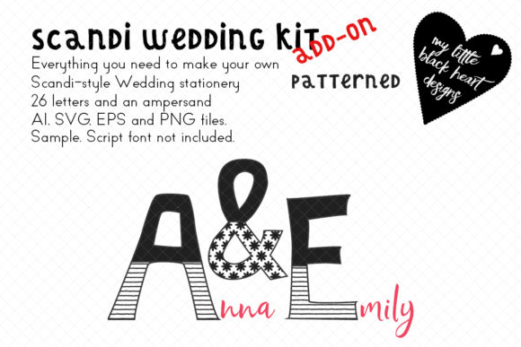 Scandi-Wedding Addon Patterned Monogram Gráfico Ilustraciones Por My Little Black Heart