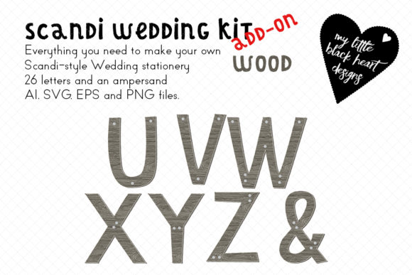 Download Free Scandi Wedding Wood Monogram Set Graphic By My Little Black Heart Creative Fabrica for Cricut Explore, Silhouette and other cutting machines.