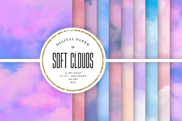Print on Demand: Soft Clouds Backgrounds - Abstract Skies Graphic Backgrounds By Sabina Leja