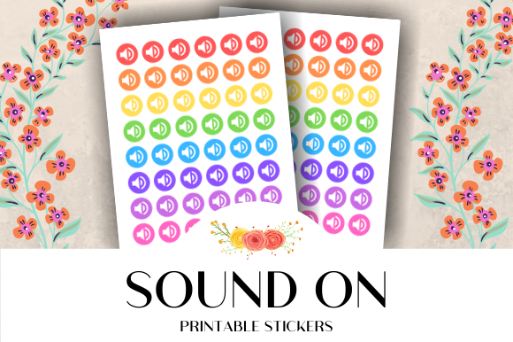 Download Free Sound On Icon Printable Stickers Graphic By Atlasart Creative for Cricut Explore, Silhouette and other cutting machines.