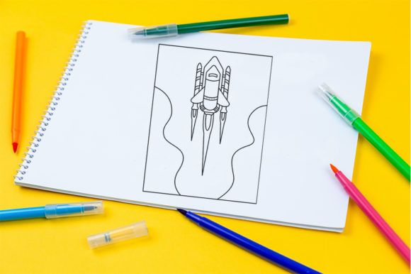 Print on Demand: Spaceship Coloring Page for Kids Graphic Coloring Pages & Books Kids By doridodesign