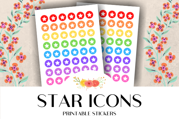 Download Free Star Icon Printable Stickers Graphic By Atlasart Creative Fabrica for Cricut Explore, Silhouette and other cutting machines.