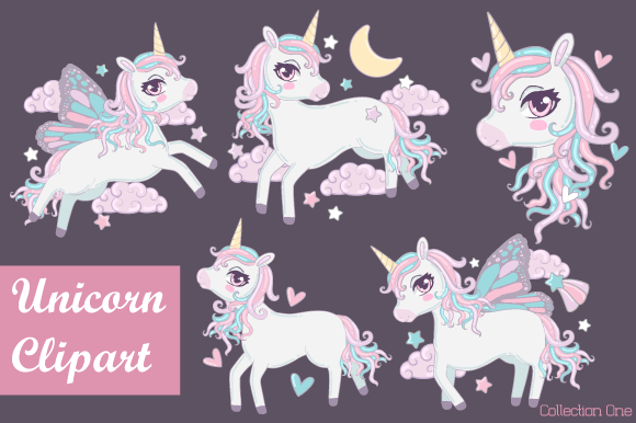 Print on Demand: Unicorn Clipart Collection Graphic Illustrations By JM_Graphics - Image 1