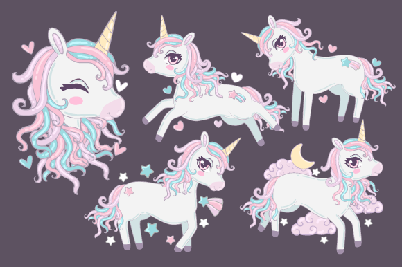 Print on Demand: Unicorn Clipart Collection Graphic Illustrations By JM_Graphics - Image 2