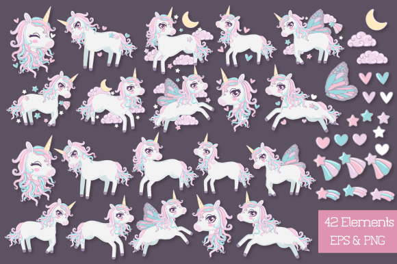 Print on Demand: Unicorn Clipart Collection Graphic Illustrations By JM_Graphics - Image 3