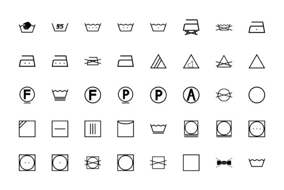 Download Free Wash Sign Clothes Care Symbols Black Set Graphic By Magistr0505 for Cricut Explore, Silhouette and other cutting machines.