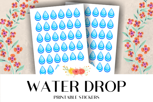 Print on Demand: Water Drop Icon Printable Stickers Graphic Crafts By atlasart