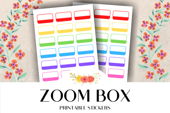 Download Free Zoom Box Printable Stickers Graphic By Atlasart Creative Fabrica for Cricut Explore, Silhouette and other cutting machines.