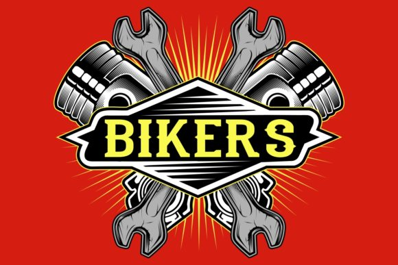 Grunge Style Bikers Logo Piston Graphic Illustrations By Epic.Graphic
