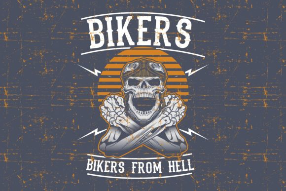 Download Free Grunge Style Skull Bikers Wearing Retro Graphic By Epic Graphic for Cricut Explore, Silhouette and other cutting machines.