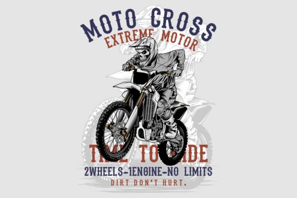 Grunge Style Skull Motor Cross Hand Draw Graphic Illustrations By Epic.Graphic