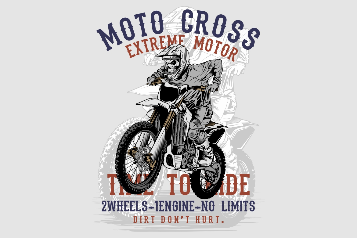 Download Free Grunge Style Skull Motor Cross Hand Draw Graphic By Epic Graphic for Cricut Explore, Silhouette and other cutting machines.
