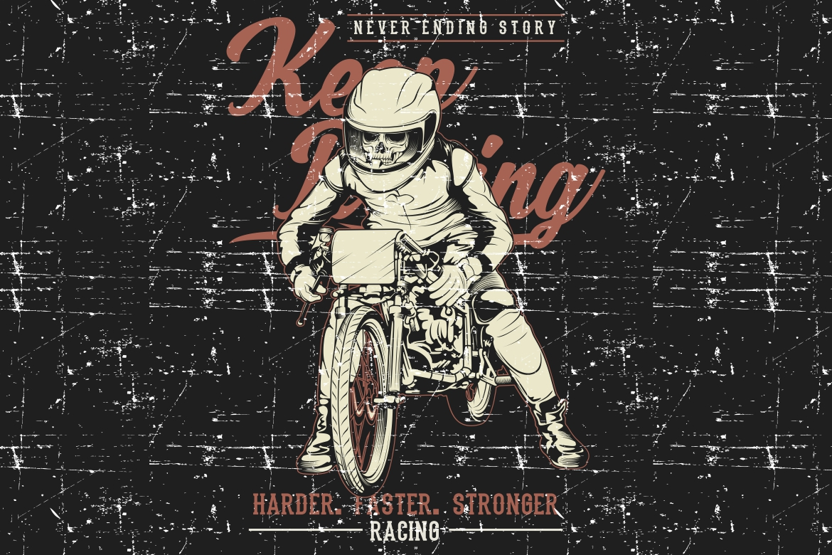 Download Free Grunge Style Vintage Motorcycle Racing Graphic By Epic Graphic for Cricut Explore, Silhouette and other cutting machines.