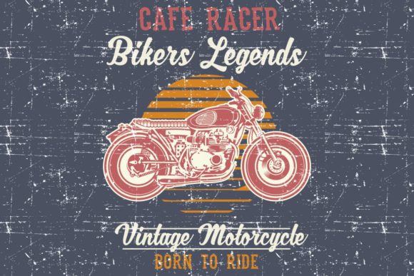Download Free Grunge Style Vintage Motorcycle Cafe Graphic By Epic Graphic for Cricut Explore, Silhouette and other cutting machines.