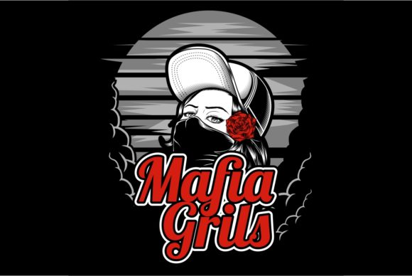Mafia Girl Wearing Cap and Rose   Gráfico Ilustraciones Por Epic.Graphic