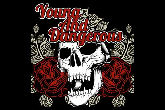 Download Free Skull And Rose Young And Dangerous Graphic By Epic Graphic for Cricut Explore, Silhouette and other cutting machines.