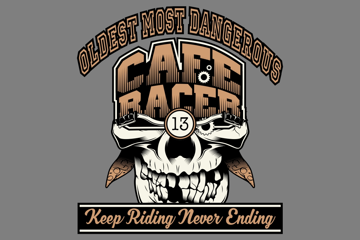 Download Free Skull Cafe Racer Hand Drawing Graphic By Epic Graphic Creative for Cricut Explore, Silhouette and other cutting machines.