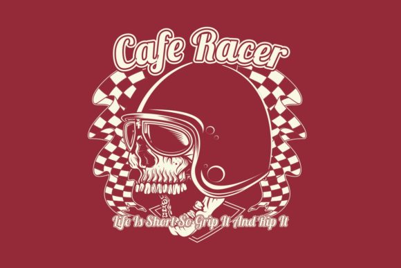 Download Free Vintage Skull Cafe Racer Wearing Helmet Graphic By Epic Graphic for Cricut Explore, Silhouette and other cutting machines.