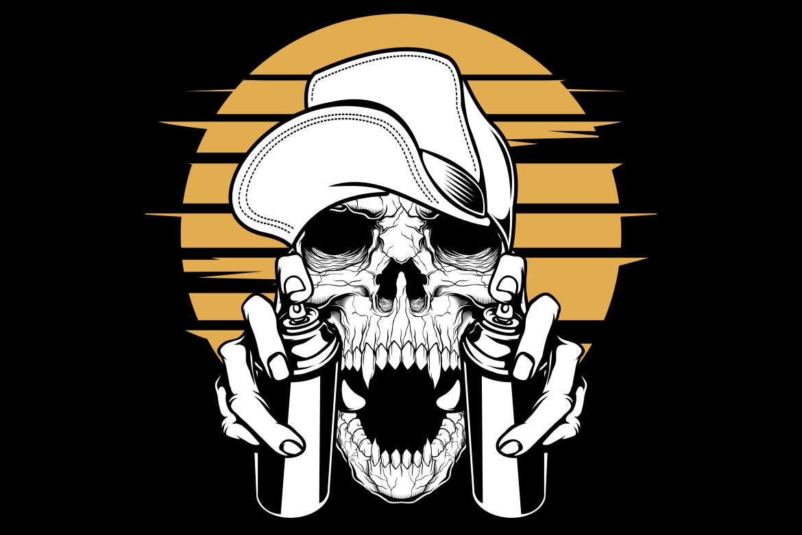 Download Free Skull In Cap Holding A Spray Paint Graphic By Epic Graphic for Cricut Explore, Silhouette and other cutting machines.