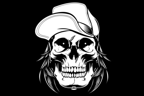 Skull Wearing Cap .vector Hand Drawing Graphic Illustrations By Epic.Graphic