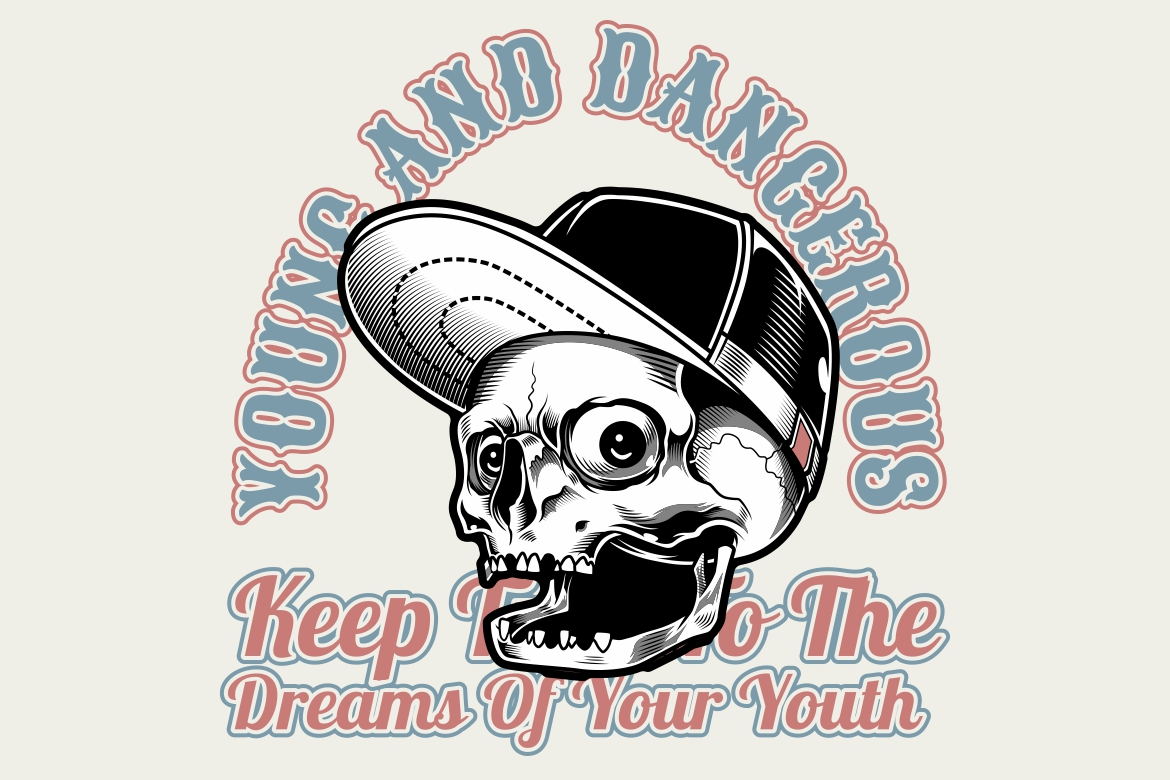 Download Free Skull Wearing Cap Young And Dangerous Graphic By Epic Graphic for Cricut Explore, Silhouette and other cutting machines.