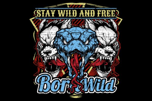Snake and Wolf Stay Wild and Free Graphic Illustrations By Epic.Graphic