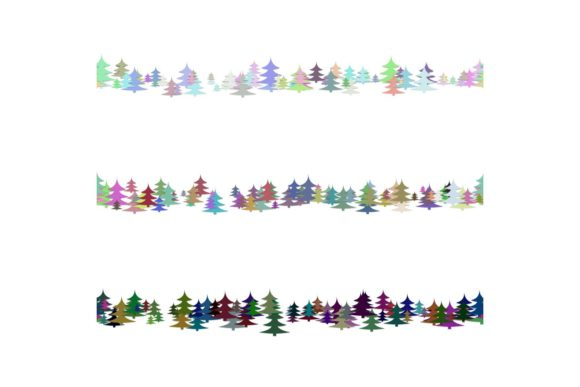 3 Seamless Line Dividers with Pine Trees Graphic Objects By davidzydd