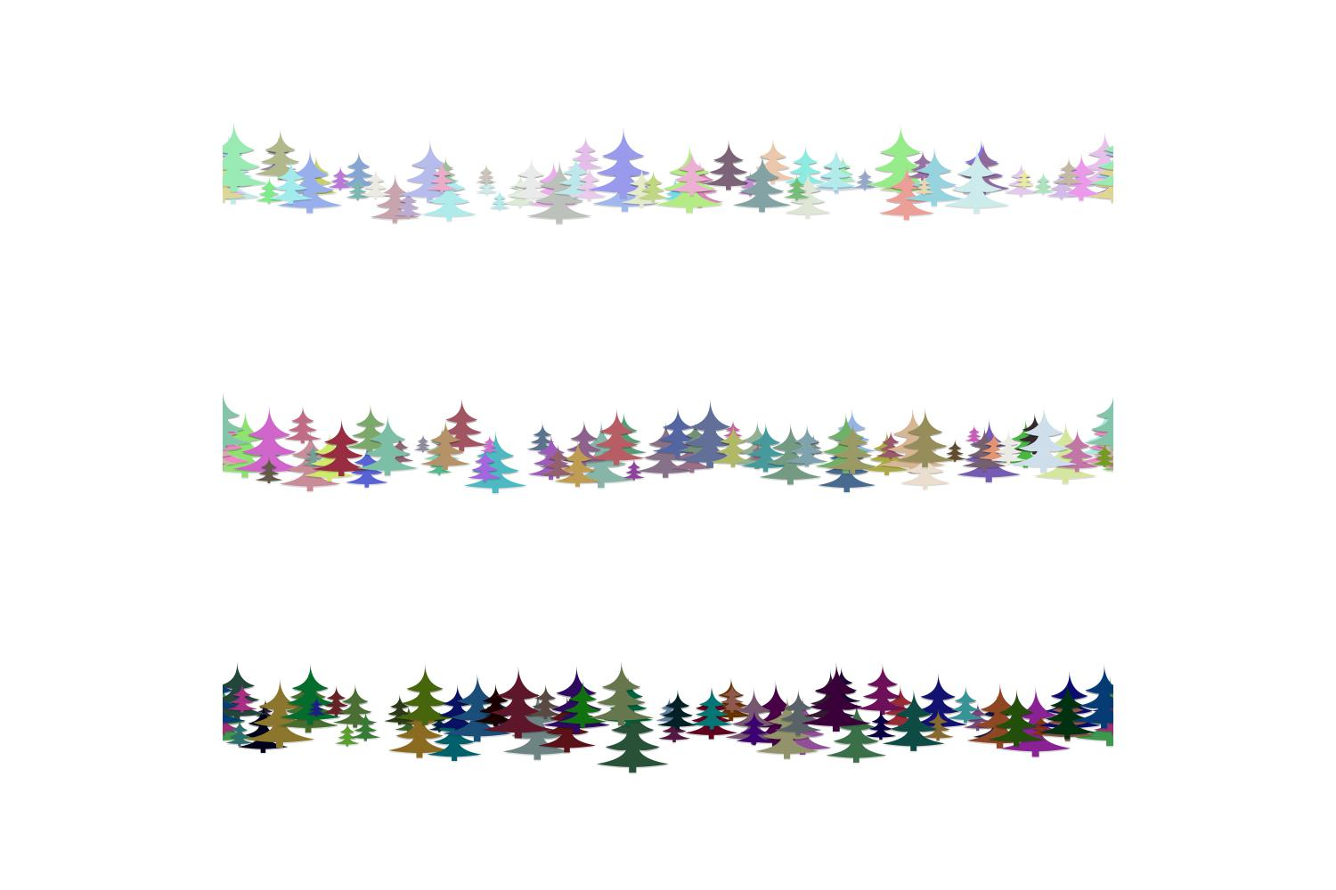 Download Free 3 Seamless Line Dividers With Pine Trees Graphic By Davidzydd for Cricut Explore, Silhouette and other cutting machines.