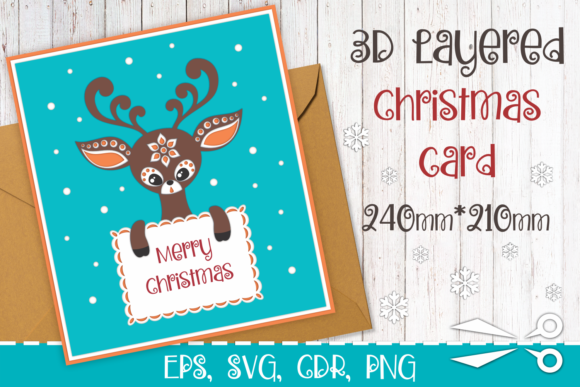 Download Free 3d Layered Christmas Greeting Card Graphic By Olga Belova for Cricut Explore, Silhouette and other cutting machines.