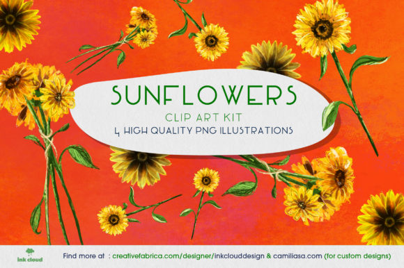 Print on Demand: 4 Sunflowers Flowers Quality Clipart Graphic Illustrations By Inkclouddesign
