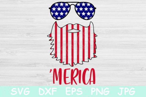 Download Free Beard Flag Merica 4th Of July Graphic By Tiffscraftycreations for Cricut Explore, Silhouette and other cutting machines.