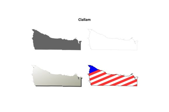 Download Free Clallam County Outline Map Set Graphic By Davidzydd Creative Fabrica for Cricut Explore, Silhouette and other cutting machines.
