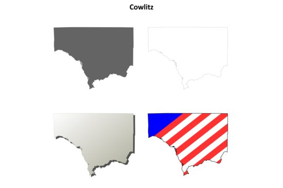 Download Free Cowlitz County Outline Map Set Graphic By Davidzydd Creative Fabrica for Cricut Explore, Silhouette and other cutting machines.