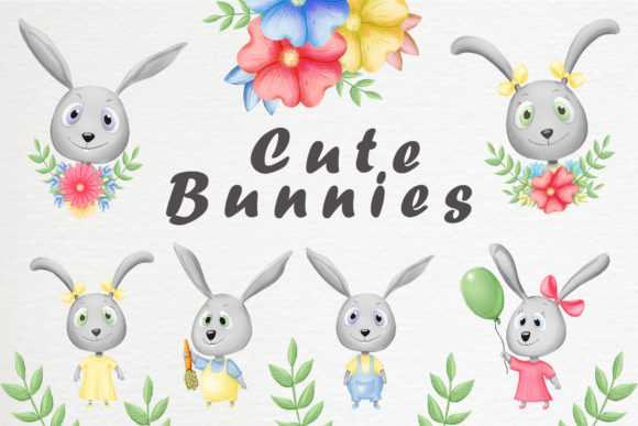 Download Free Cute Bunnies And Patterns Graphic By Gennadii Art Creative Fabrica for Cricut Explore, Silhouette and other cutting machines.