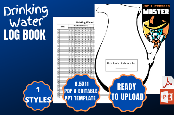 Download Free Drinking Water Log Book Graphic By Kdp Interiors Master for Cricut Explore, Silhouette and other cutting machines.