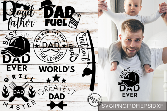 Print on Demand: Father's Day Mini T-Shirt Quote Bundle Graphic Crafts By Mockup Venue