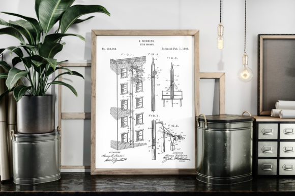 Download Free Fire Escape 1898 Vintage Patent Art Graphic By Antique Pixls for Cricut Explore, Silhouette and other cutting machines.